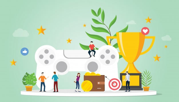 gamification-life-concept-with-goals-reward-star-with-team-people-big-trophy_25147-227